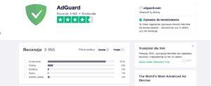 Opinie i oceny AdGuard w serwisie TrustPilot